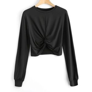 Twist front long sleeve crop top